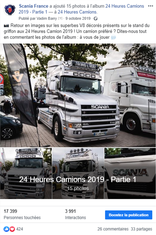 Posts Facebook contenu live Scania France