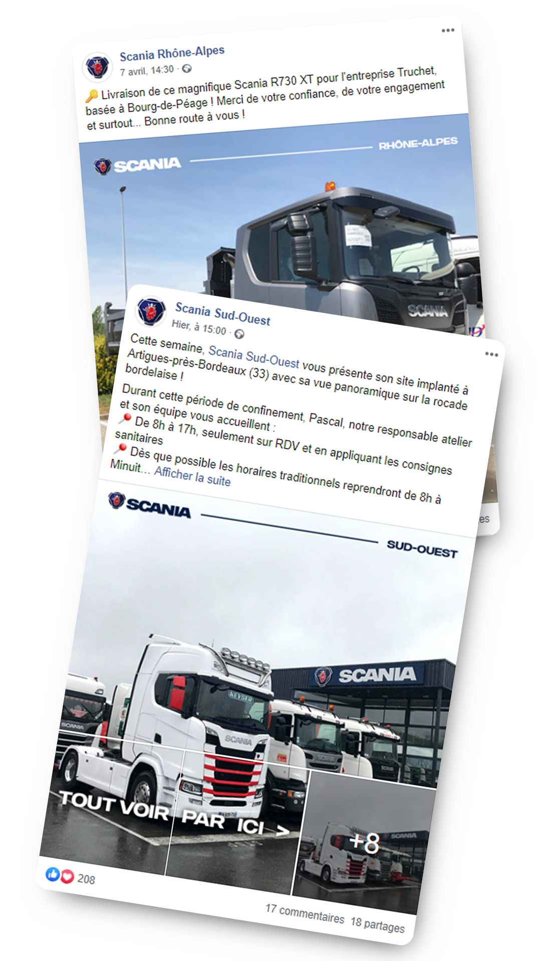 Posts Facebook activation locale Scania France